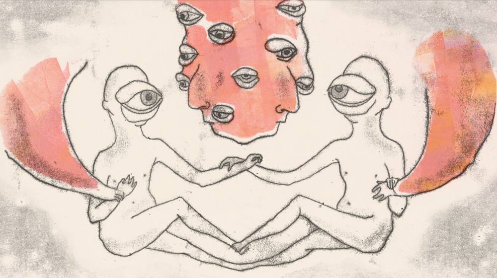 A still from Meltem Şahin's animated monoprints, ' Eye and Mind '
