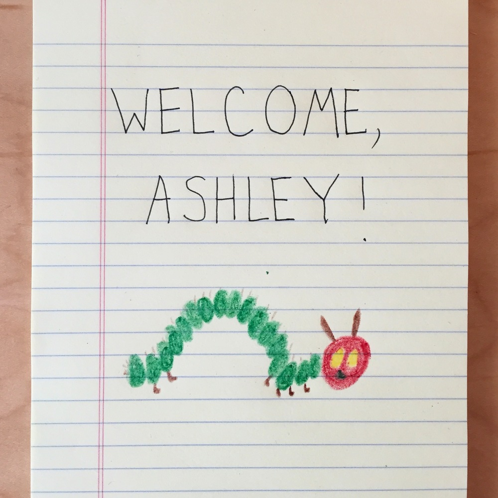 A warm welcome from my office-mate, Emily.