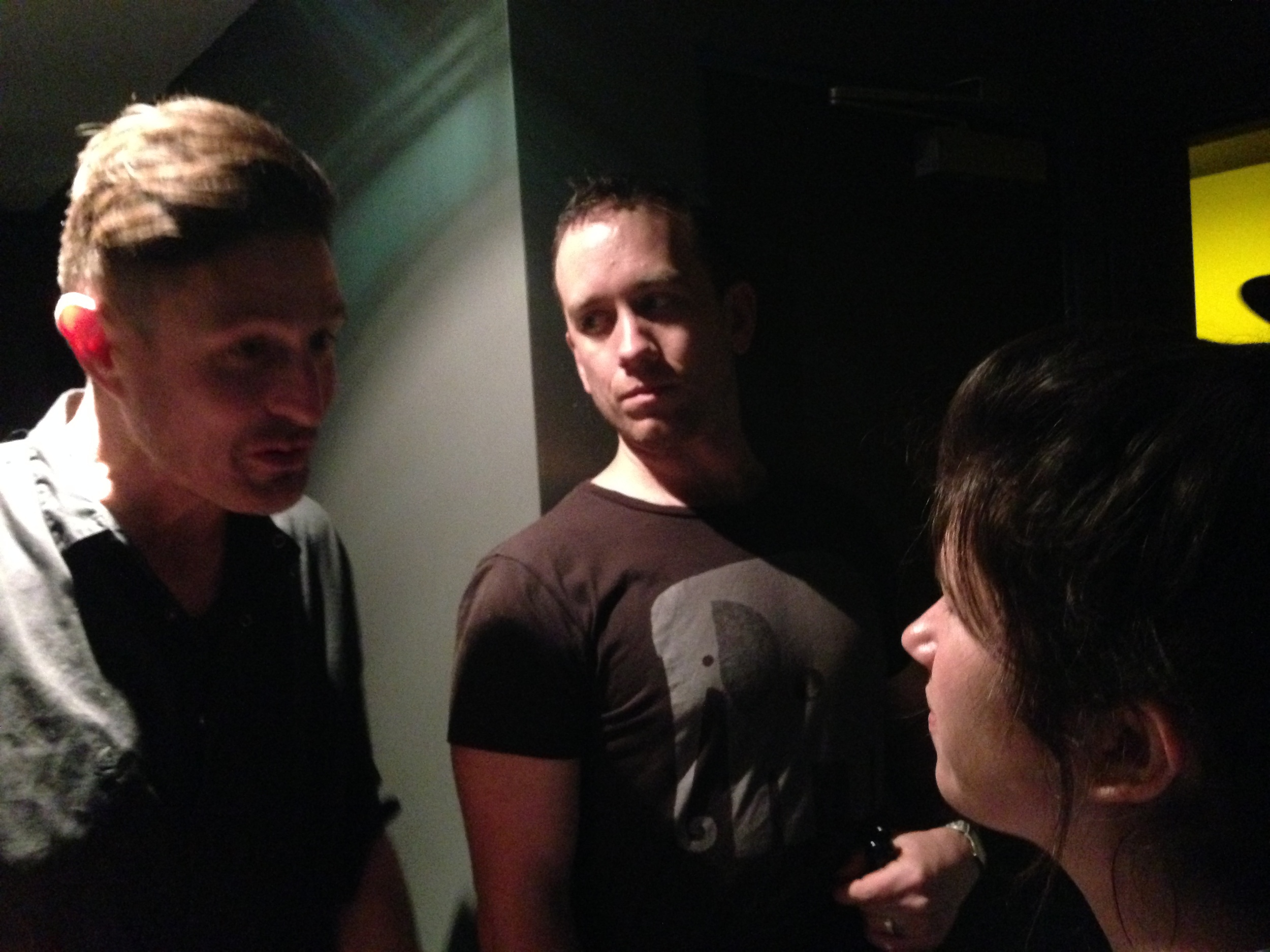 Backstage with Wil Anderson, Danny McGinlay and Becky Lucas.