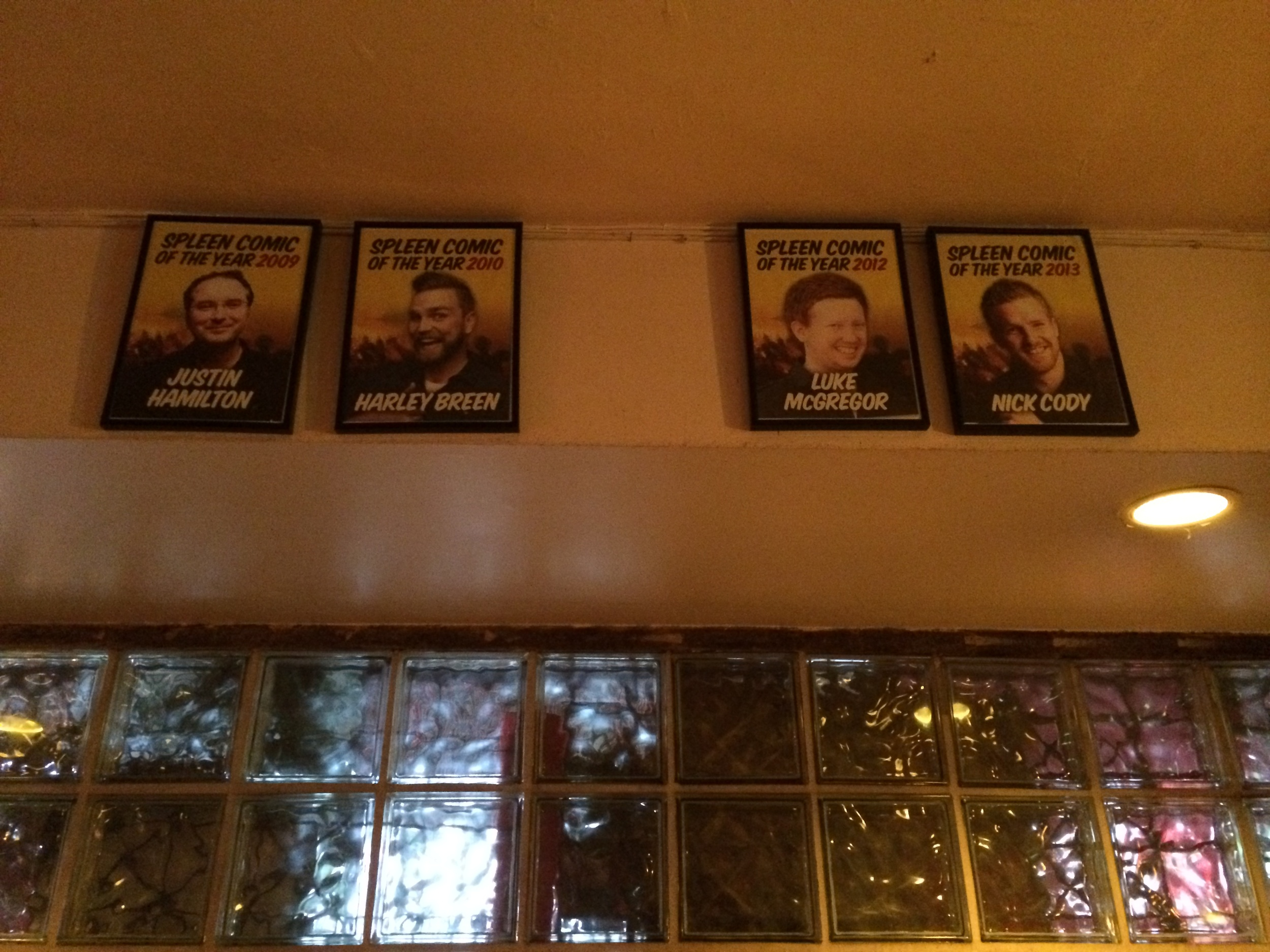 Do you recognise who is missing from the Spleen comedian of the year wall of fame?  I'll give you a hint.  It is Xavier Michelides.