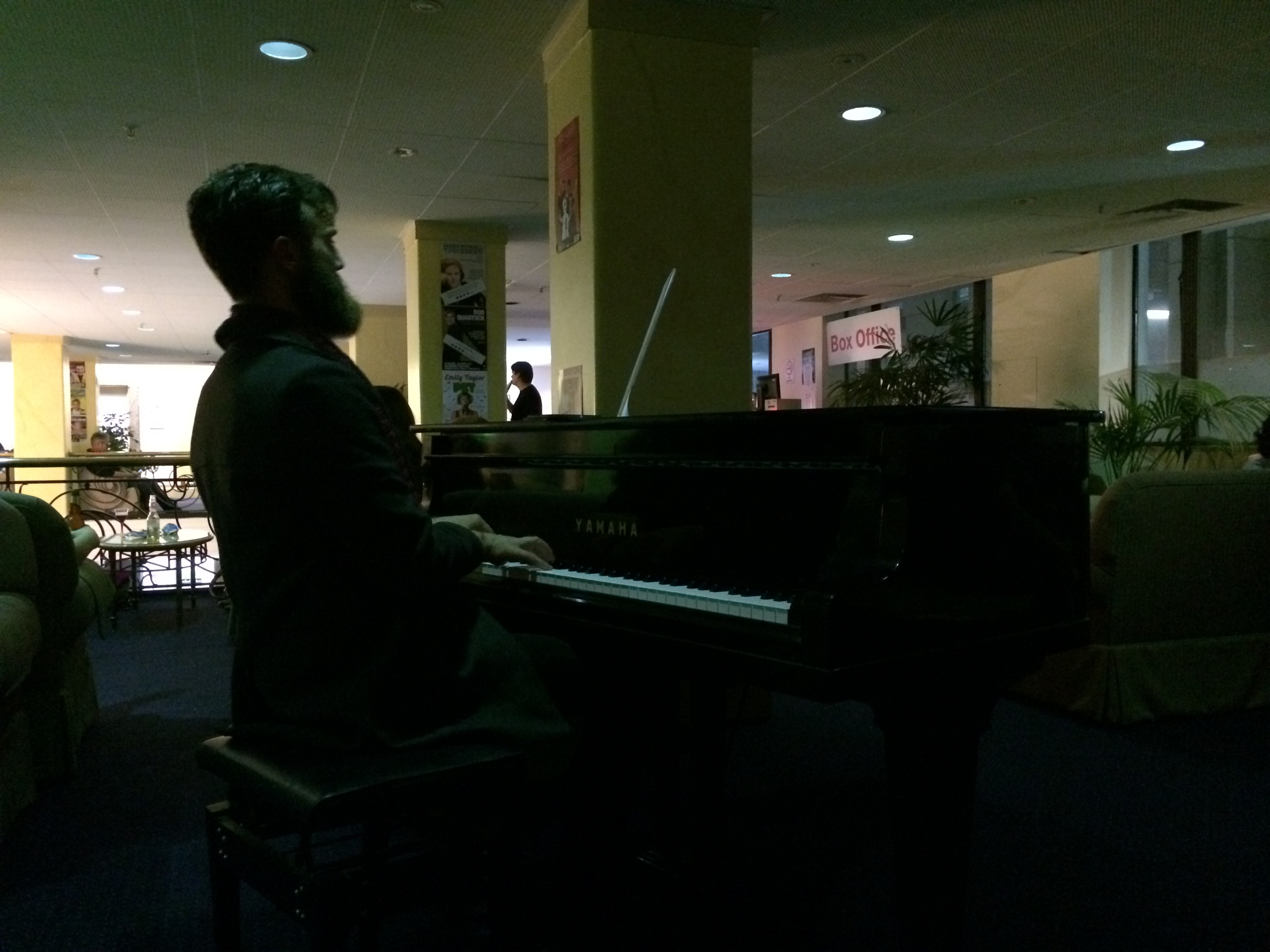 Ryan Coffey played a little piano for the patrons waiting to see shows at the Vic last night.
