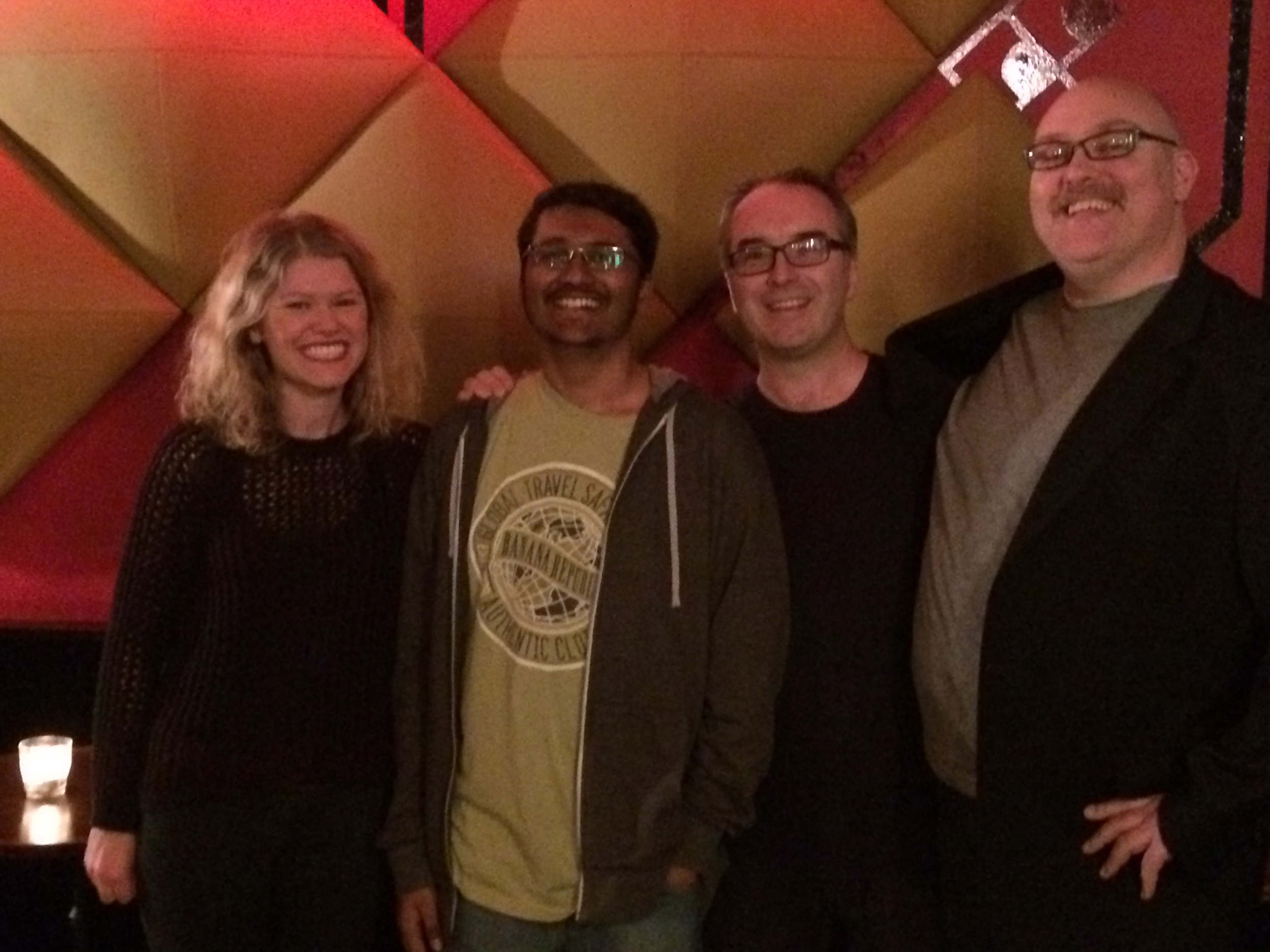 Kate McLennan, Rohan Desai, this idiot and Adam Richard before the show began.