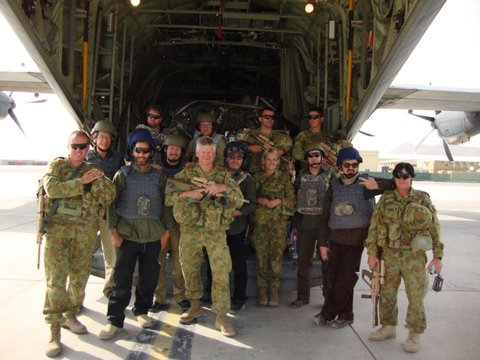 Here I am with the men and women I toured with in Afghanistan.  See no petrol tankers in the photo.