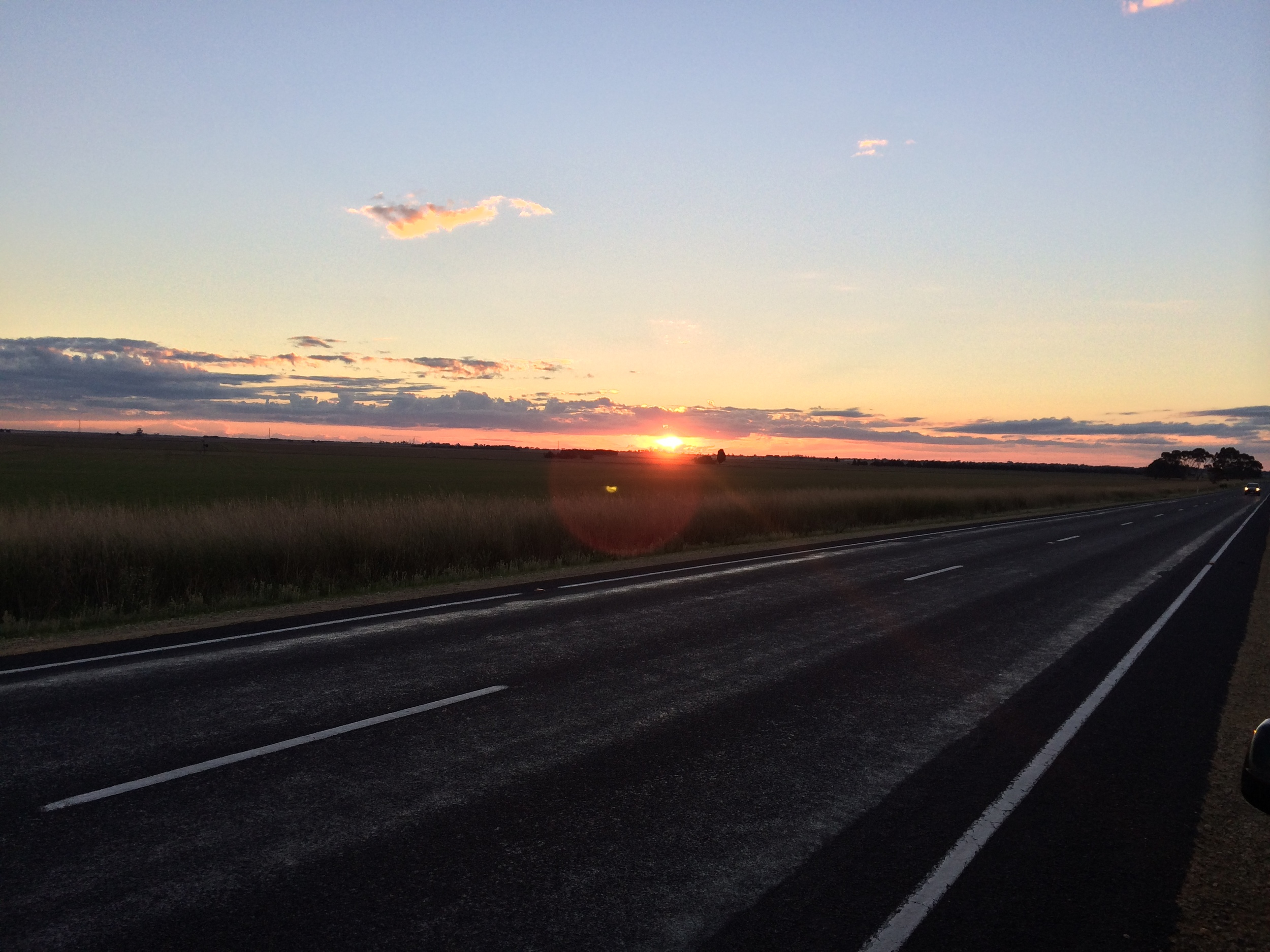 The setting sun in between Penola and Adelaide.