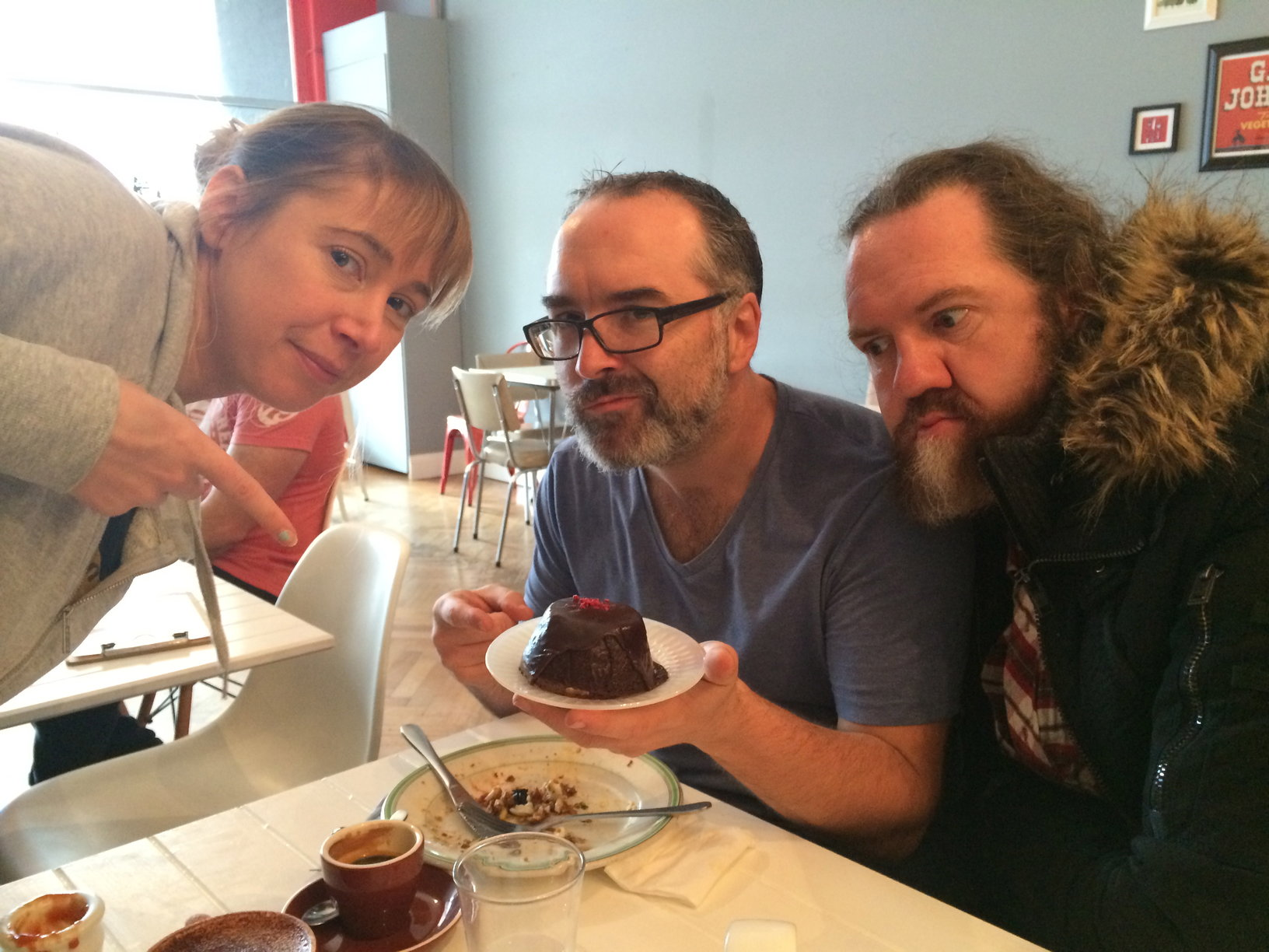 Tiff, Dave and I contemplate the hardening of the arteries via mud cake.
