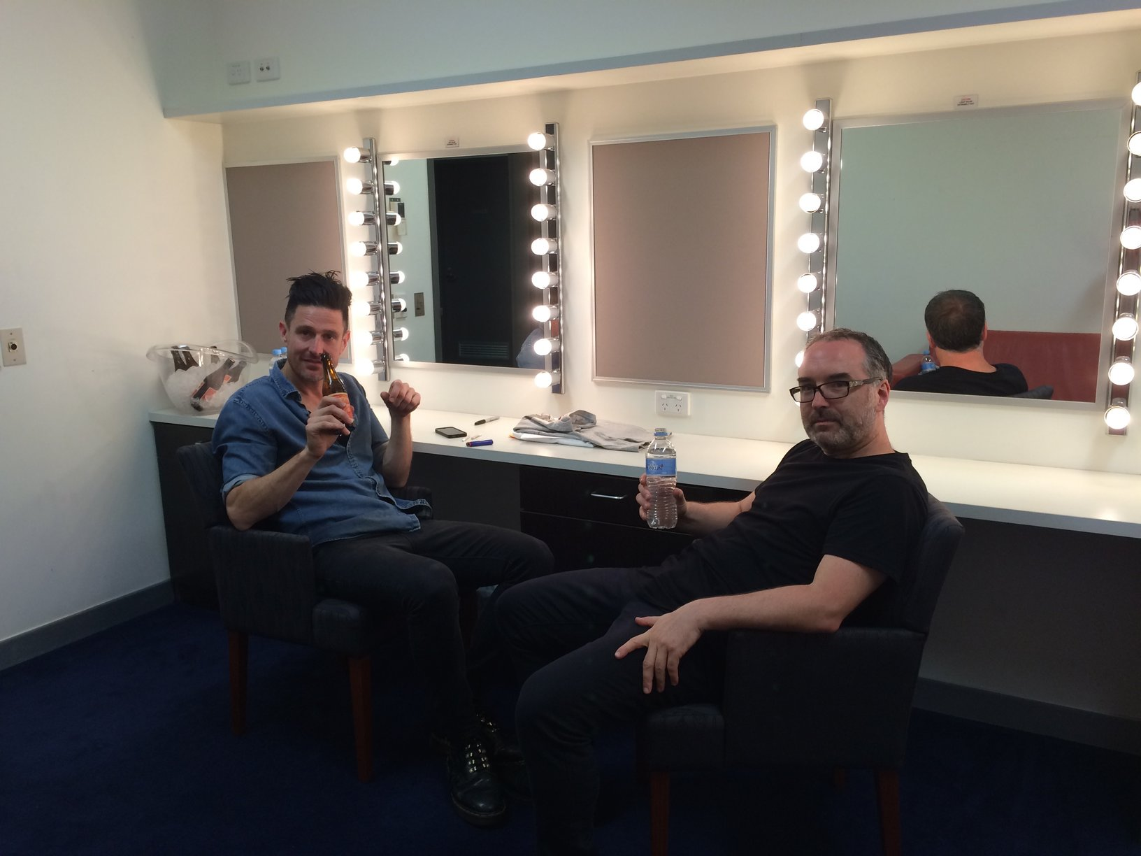 Between shows hoping I don't have a bald patch showing up in any mirrors.