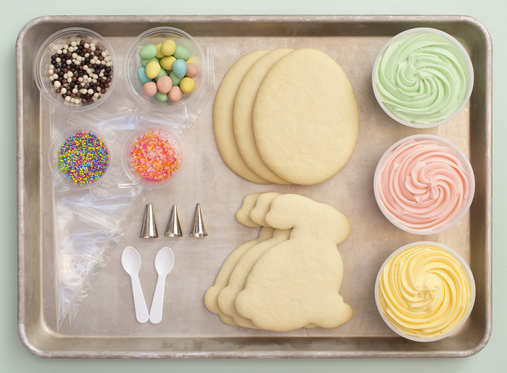Enter to win one of six Easter Cookie Decorating kits! Each kit includes three egg shaped cookies, three bunny shaped cookies, buttercream icing, decorating bags and tips, sprinkles and candies.