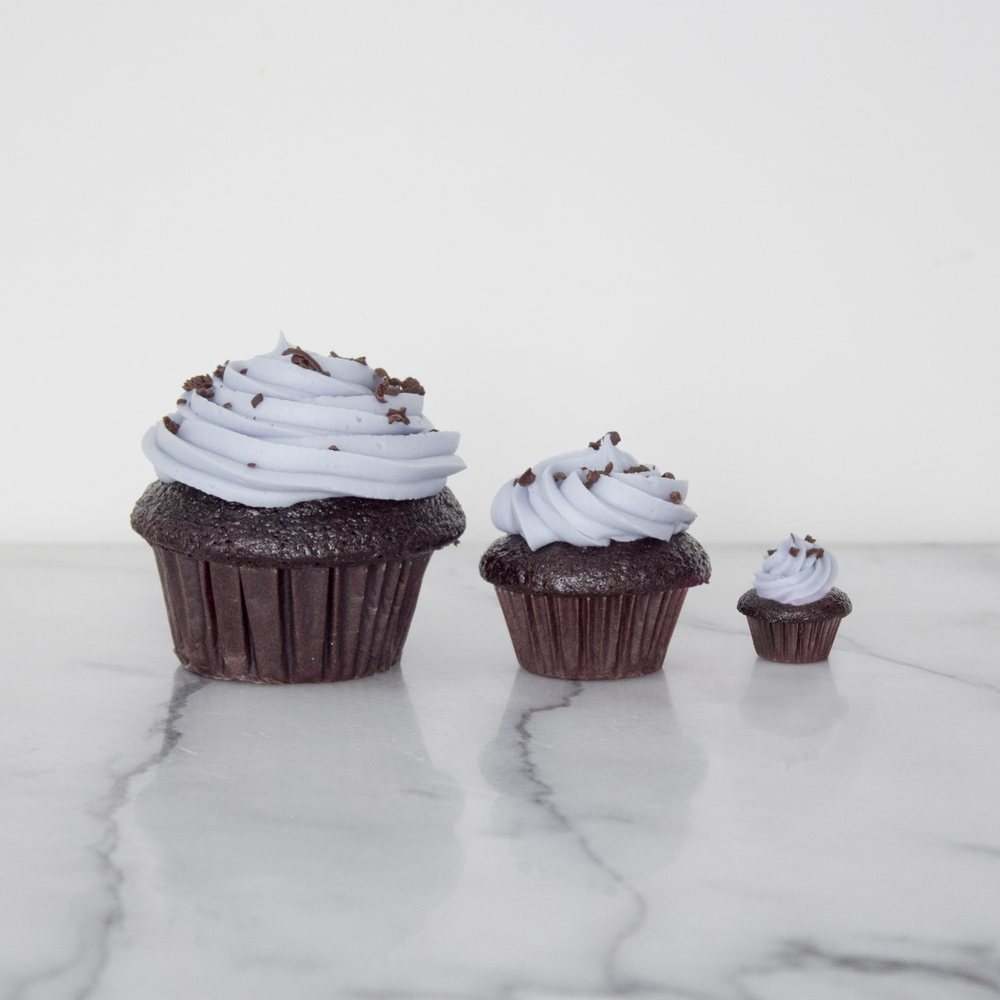 Pictured from left to right, regular size cupcake, mini size cupcake, and the Miracle Cupcake.