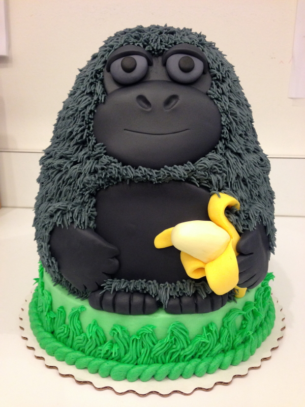 This Gorilla was the hit of the party! Made with layers of cake shaped to make the gorilla's body