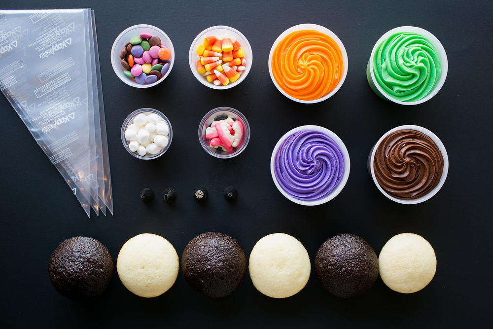 Halloween decorating kits include 6 fresh baked cupcakes, Crave's signature buttercream icing and all the candies and decorating tips you need to make 6 spooky monsters.
