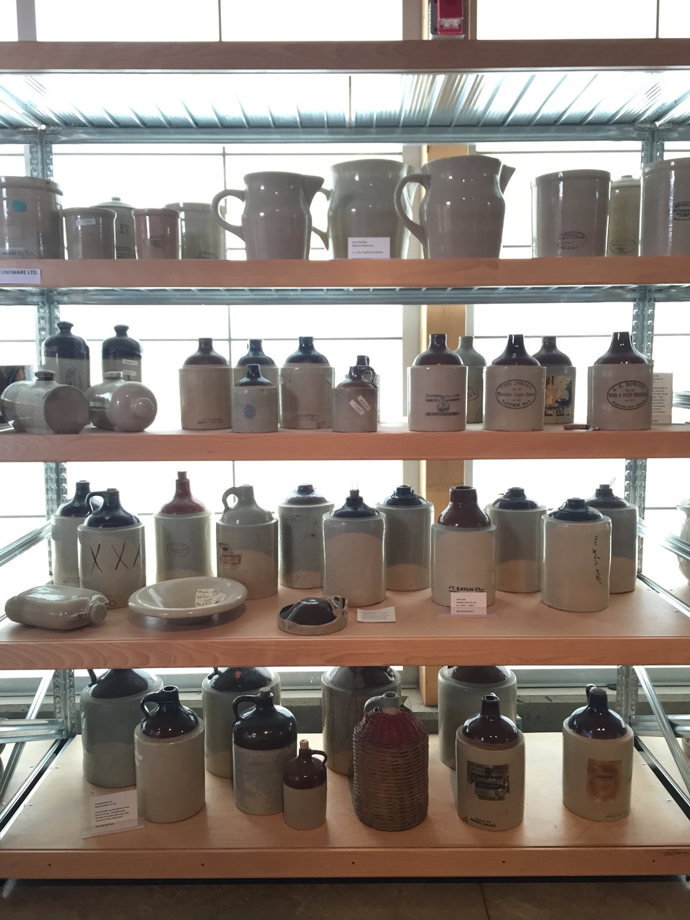 Vintage Medalta pitchers and bottles at the Museum in Medicine Hat.