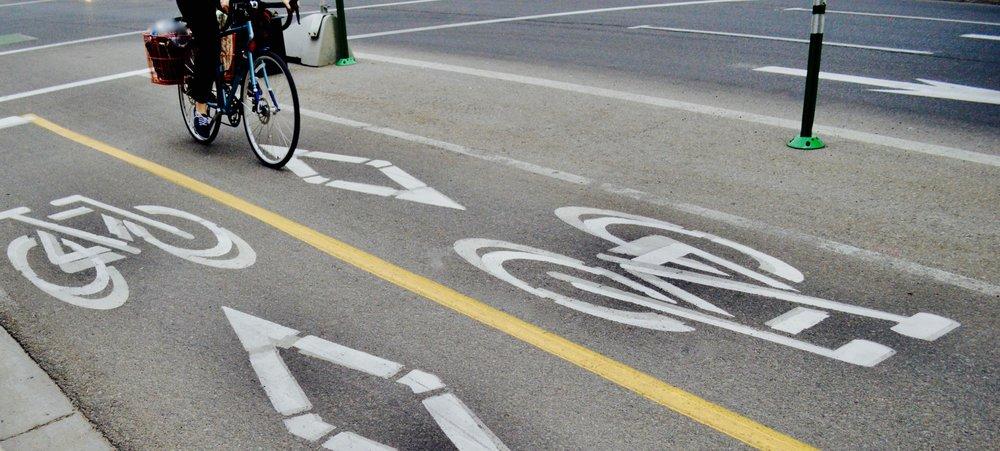 Bike lanes in downtown Calgary