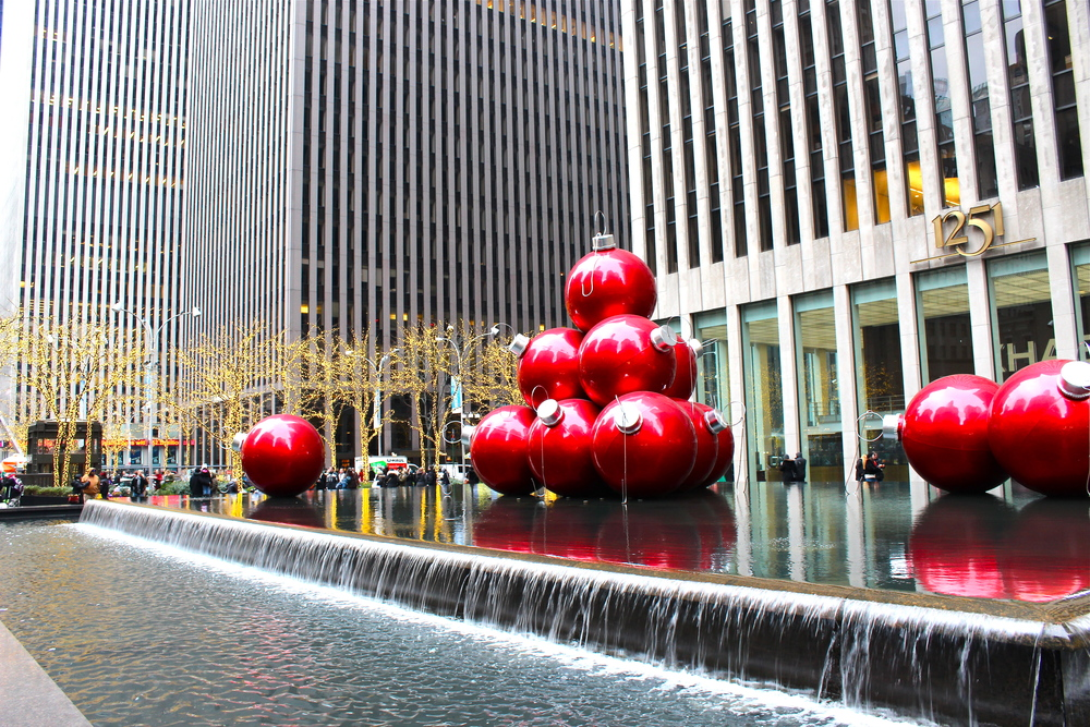 Holiday decorations on 6th Ave