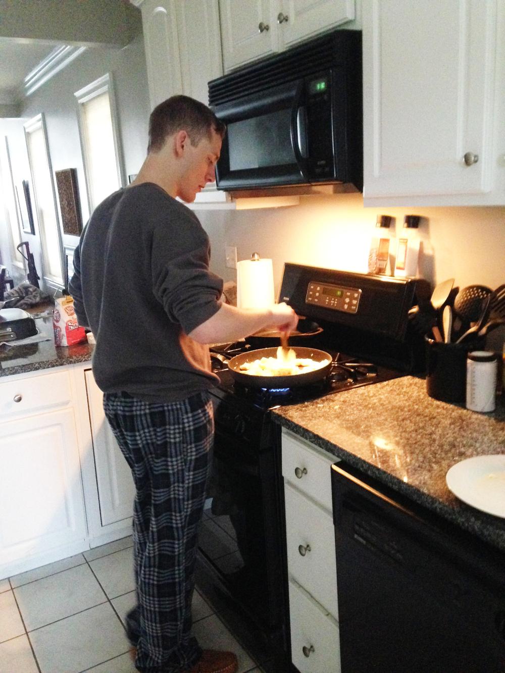 jake making breakfast