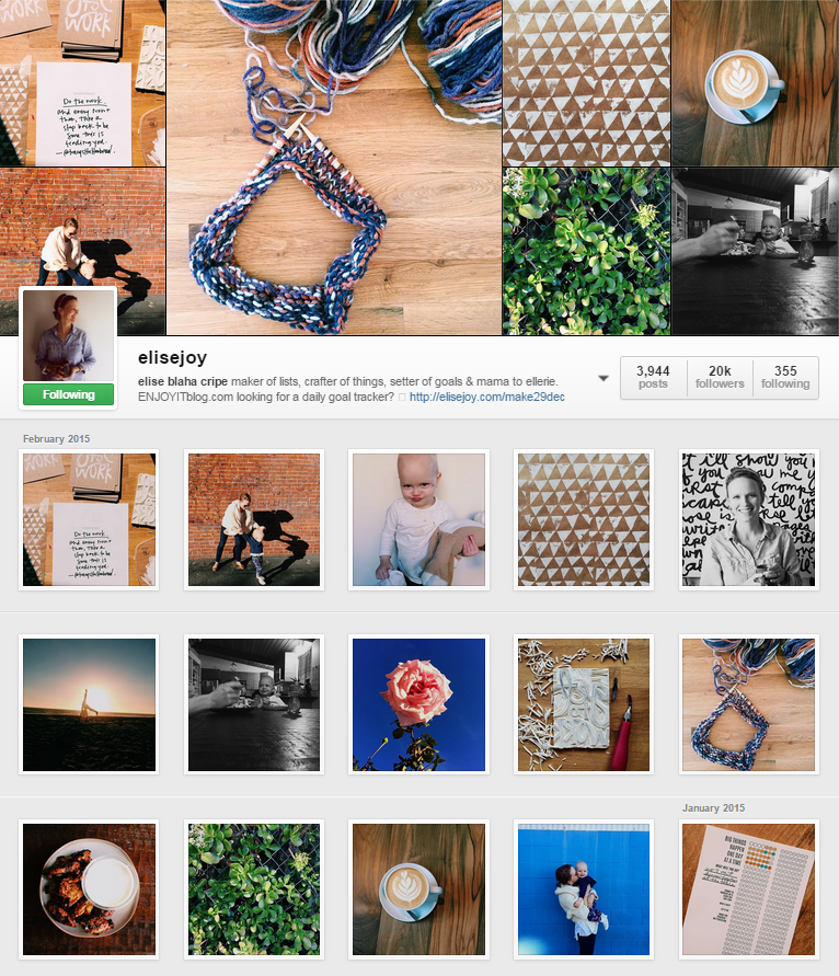 *Photos are by Elise Blaha. This is a screenshot of her Instagram page.