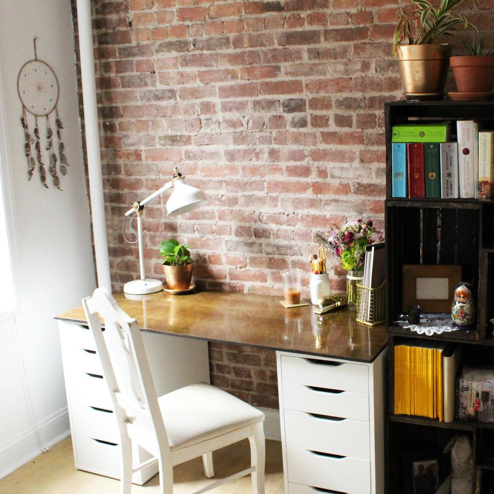 diy to try: ikea hack - wooden desk — cori's corner