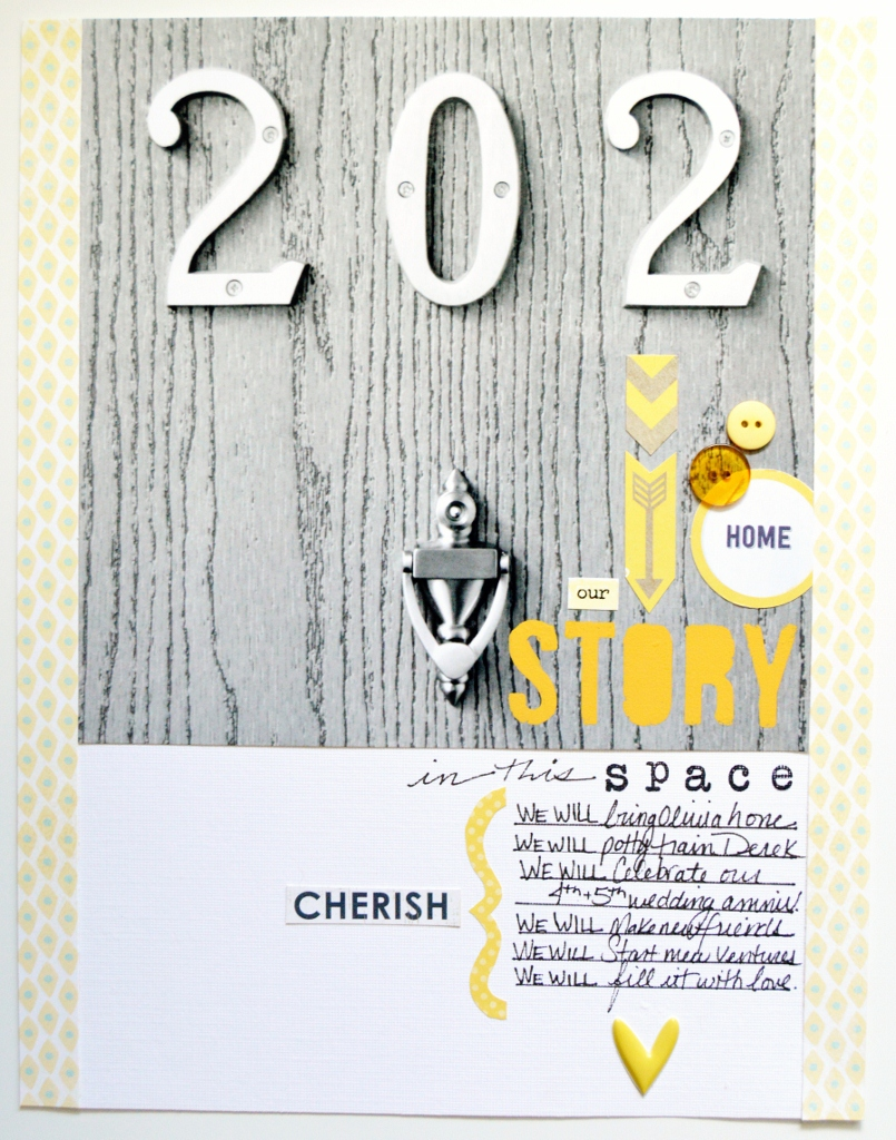 scrapbook page yellow