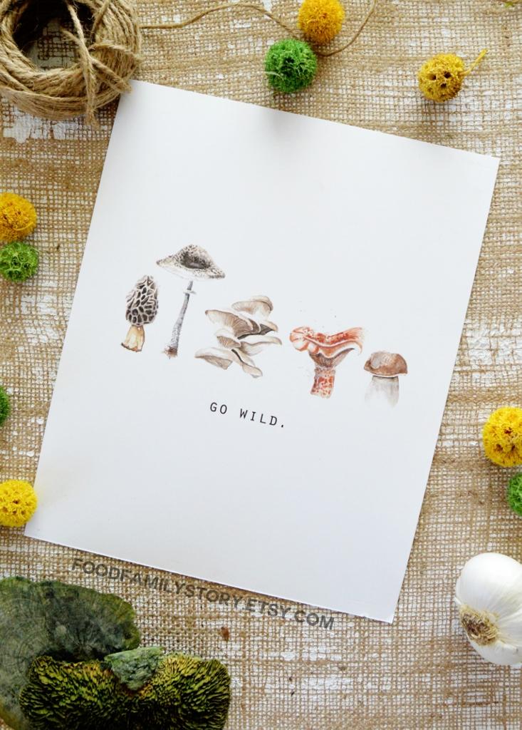 Go Wild Print | Wild Mushroom Watercolor Illustration