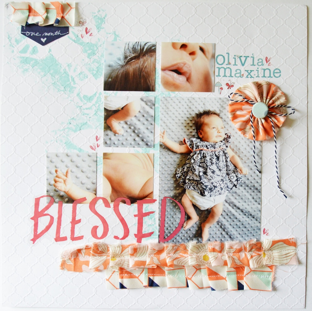 12 x 12 Scrapbook Layout  using Fabric | Baby Girl