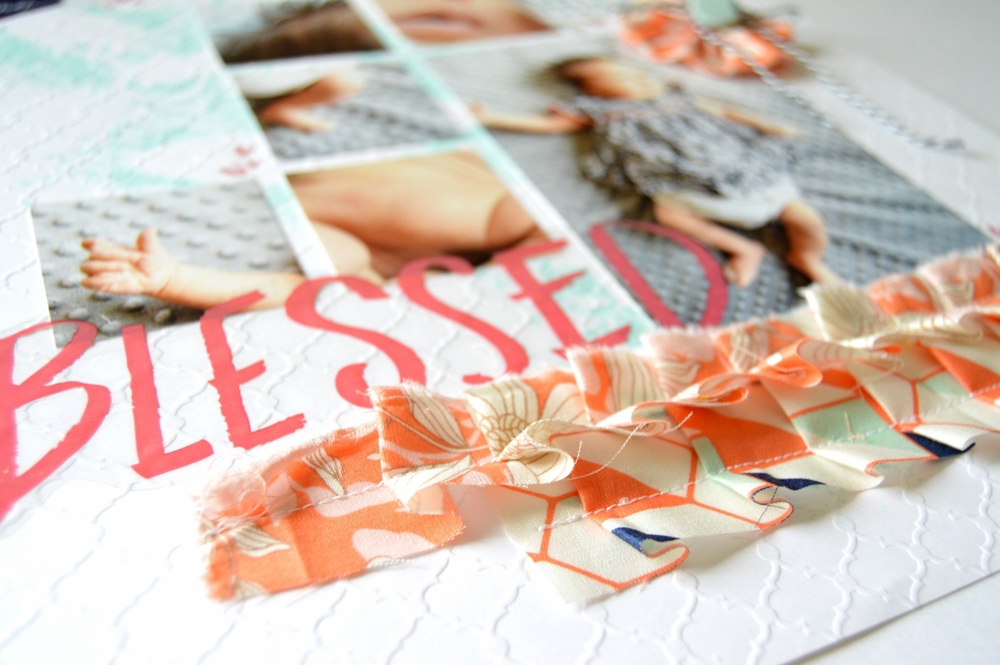 Scrapbook layout with fabric ruffles