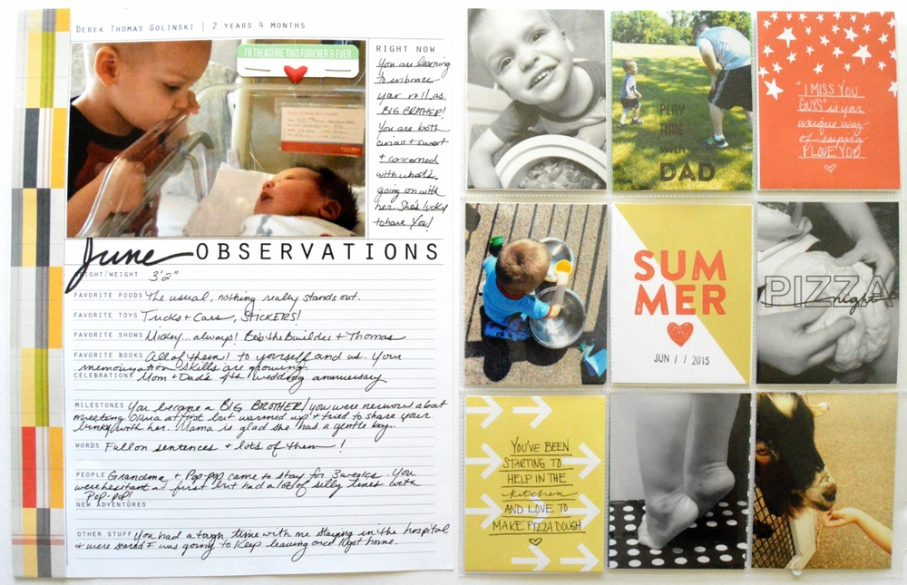 Food Family Story | June Project Life scrapbook layout