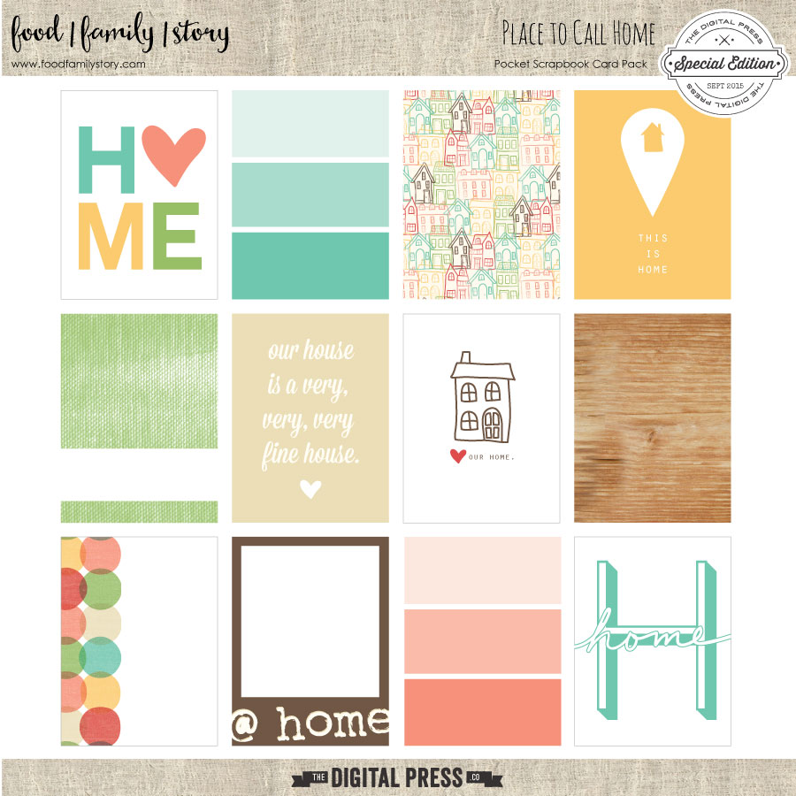 Food Family Story | Place to Call Home | Pocket Scrapbooking Journaling Cards