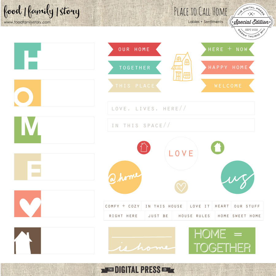 Food Family Story | Place to Call Home | Printable Labels