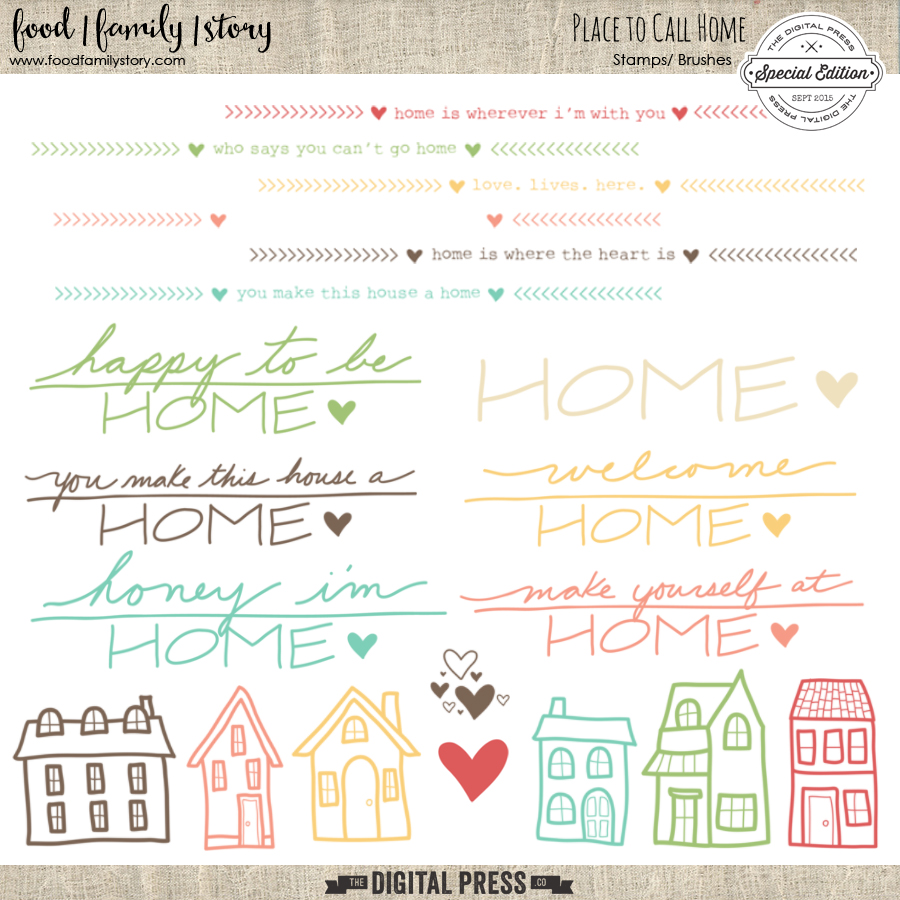 Food Family Story | Place to Call Home | Photoshop brushes and digital stamps