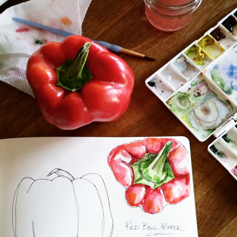 Year of Creative Habits | Watercolor Red Bell Pepper