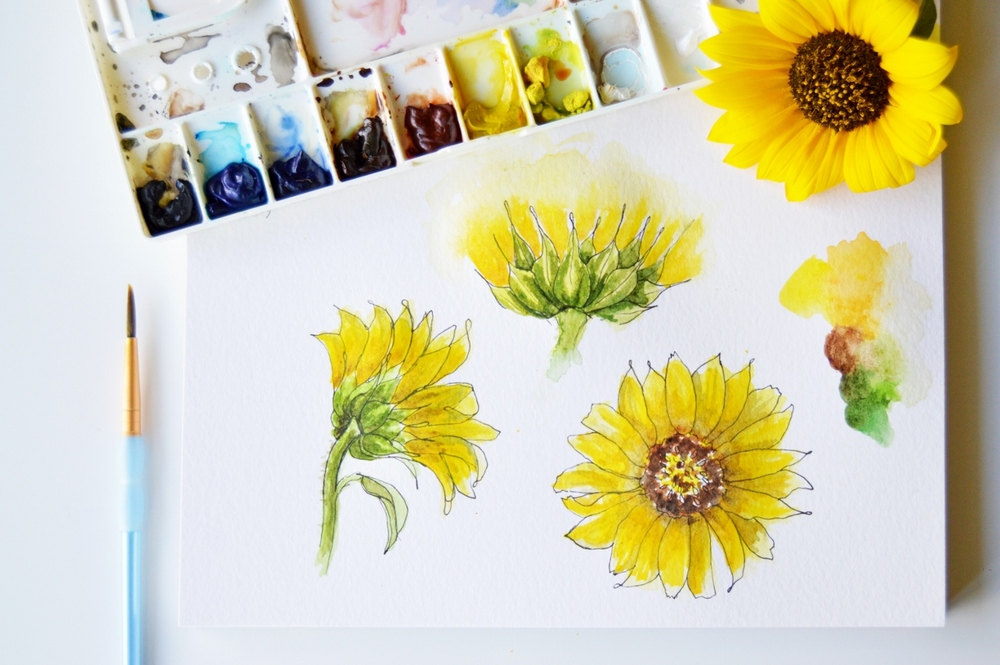Year of Creative Habits | Watercolor Sunflowers