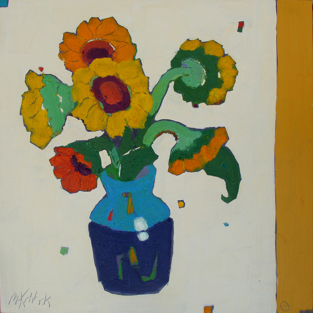 Sunflowers Blue Vase  36x36""