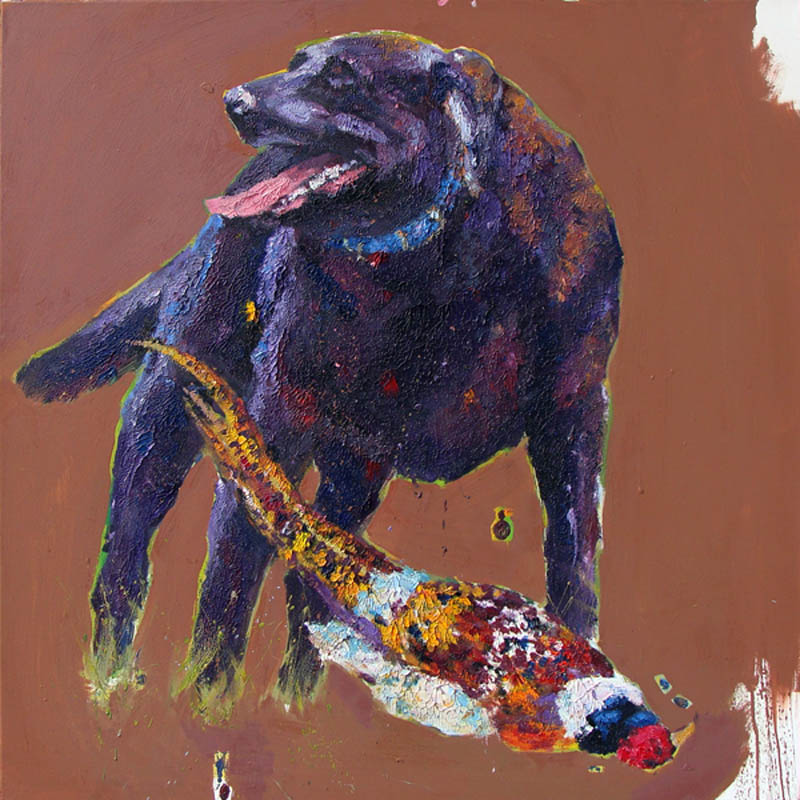 Dog with Pheasant  40x40""