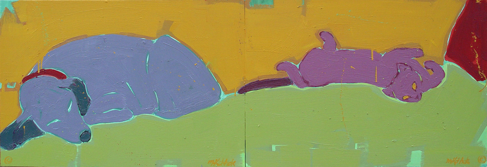 Cat and Dog Diptych  24x72""