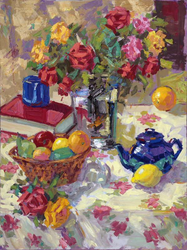 Still Life/ Roses and Fruit