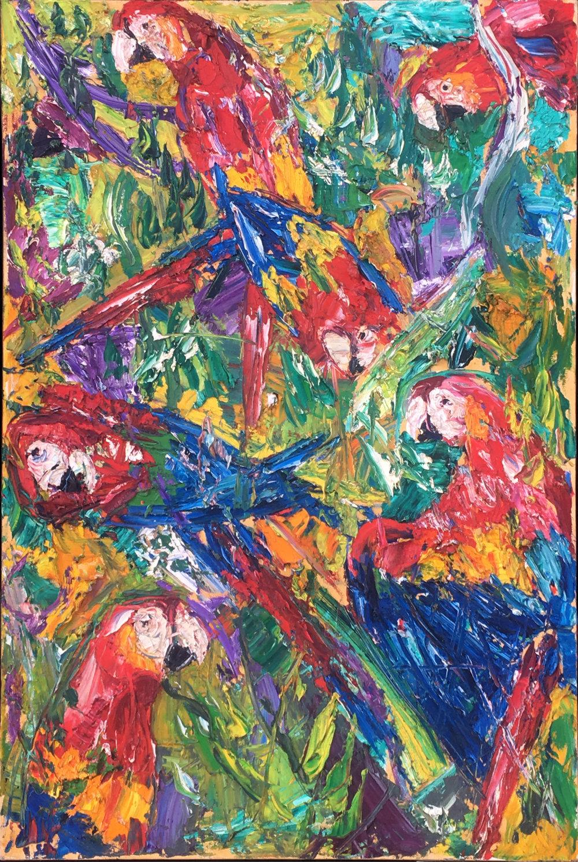 "Macaws 36x24"""