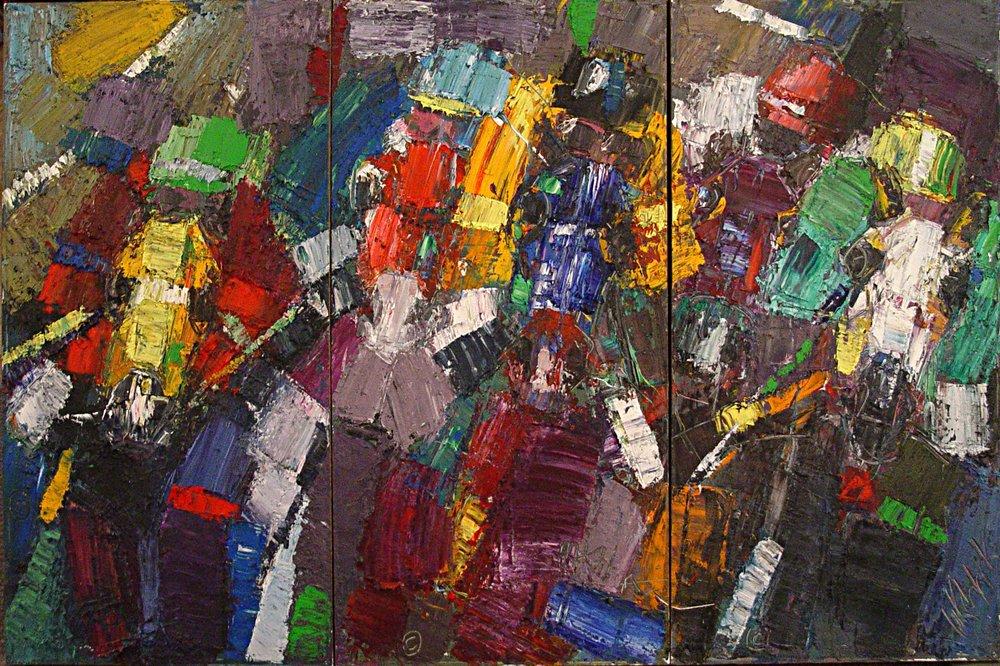 "Horse Race Triptych 48x60"""