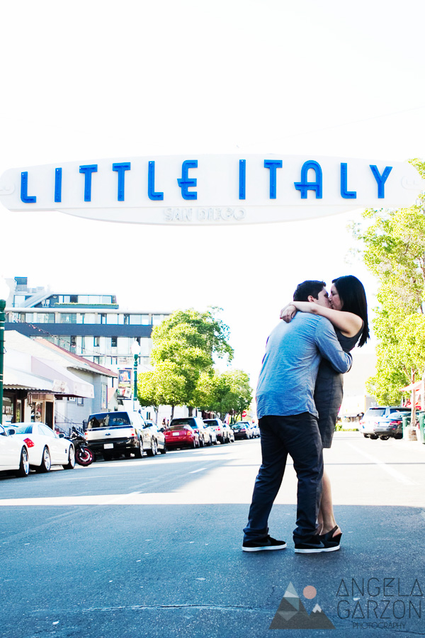 little-italy-sign-engagement-street-kiss