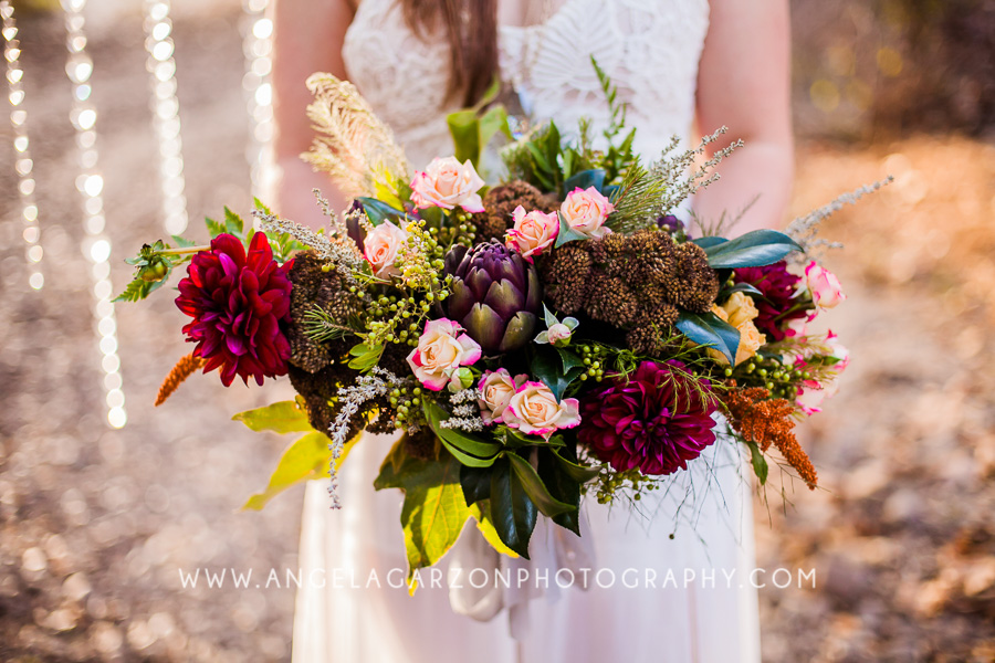 artichoke-wild-flower-dahlia-succulent-wedding-bouquet