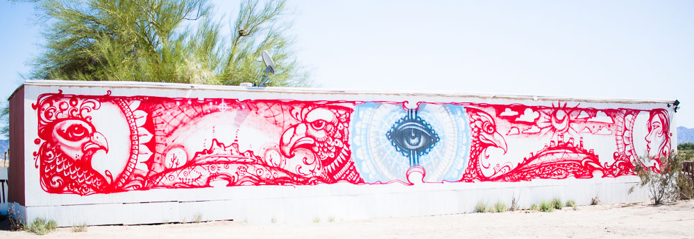 Super cool mural at the entrance of Slab City