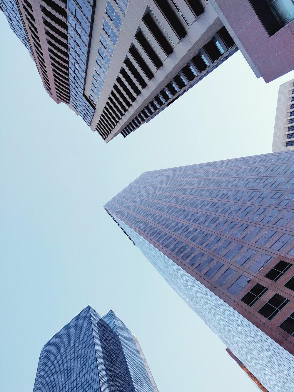 downtown-la-skyscrapers-worms-eye-view-los-angeles