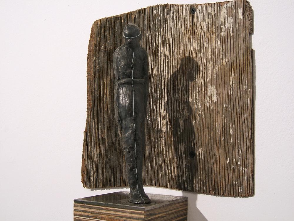 Tremor , 2009, Wax, Steel, Wood, 20 x 5 x 5 Inches
