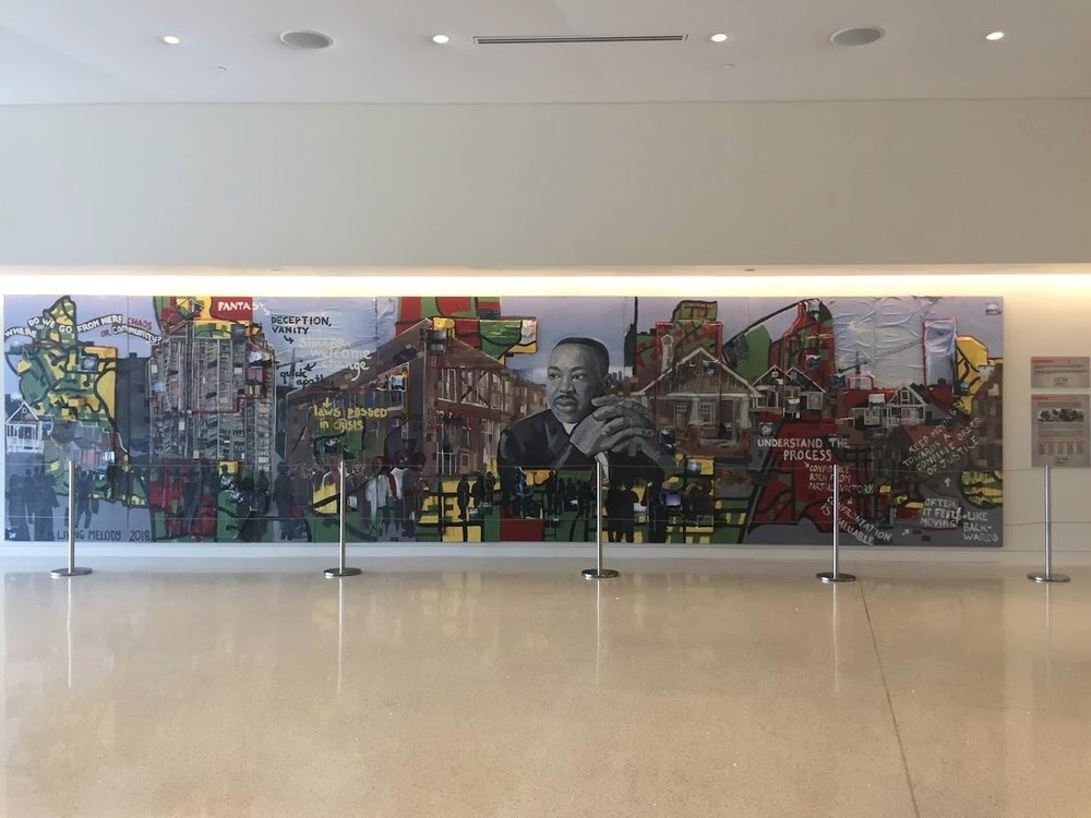 The finished mural, installed at the Center for Civll and Human Rights