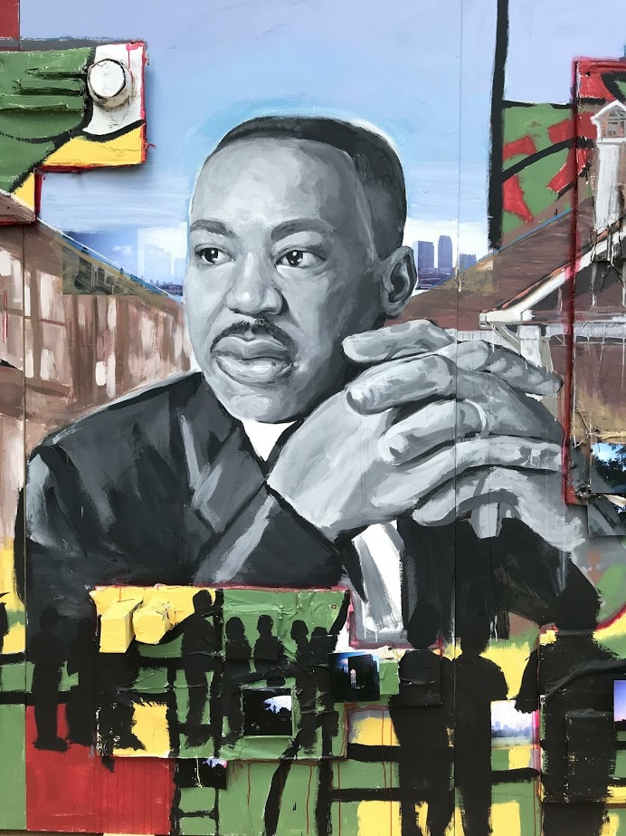 Detail of Live the Legacy II — Portrait of Dr. King painted solely by me.