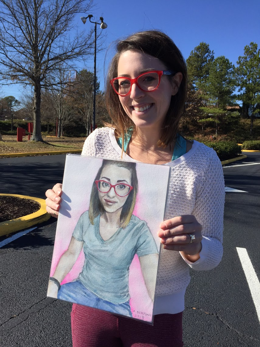"""Win of the day: this photograph of artist  Alexandra Hemrick . This painting of Alex is going to go up in her husband's office, I can't wait to see it there with the rest of his """"shrine"""" to her (her words haha)."""