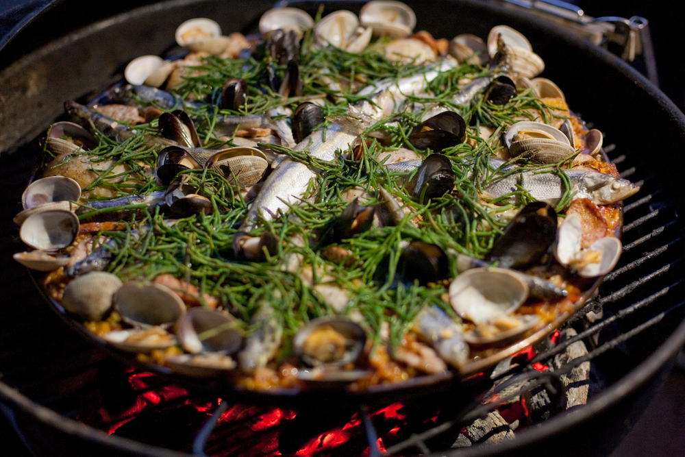 mouth watering paella with local ingredients