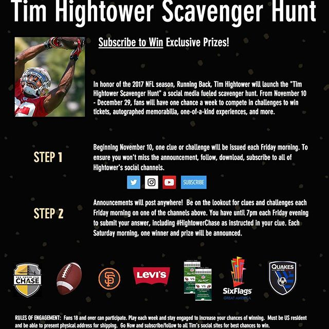 Alright gang, the #HightowerChase is on! Get involved Nov 10 thru NFL season for weekly prizes. Just follow @timhightower and be ready for clues each Friday!
