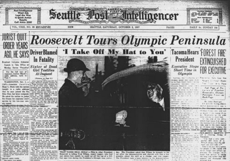 Read more about Roosevelt's tour of the Olympic Peninsula here