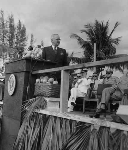 President Truman delivers a speech at the dedication of Everglades National Park
