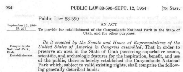 Here is the legislation that established Canyonlands, read more about it here