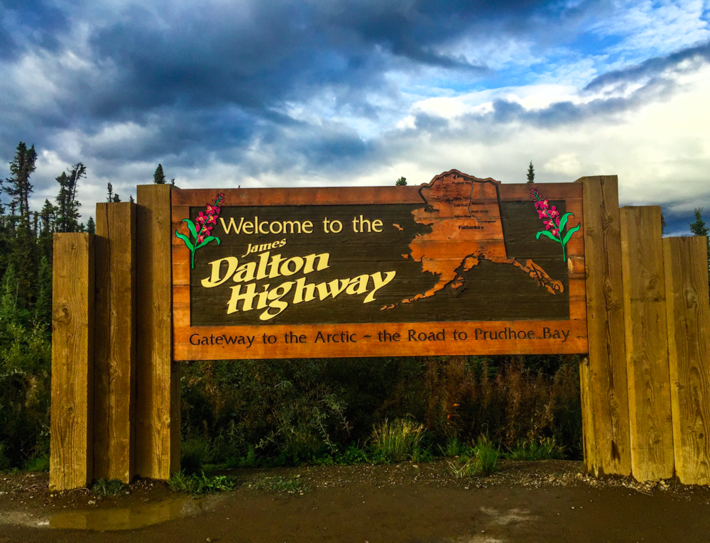 The entrance sign to the Dalton Highway